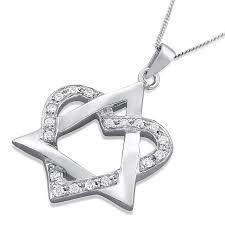 14k white or yellow gold and diamonds weaving heart star of david pendant