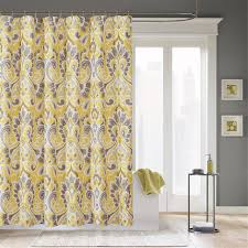 Black Grey And Yellow Shower Curtain Having Curving Shape With ...
