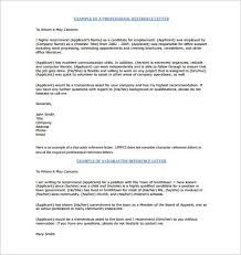 Character Reference Letter For Employee