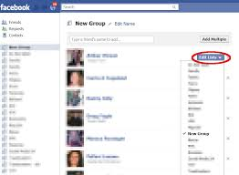screenshot of the edit friends list on in facebook