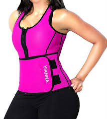 Details About Yianna Womens Shapewear Pink Size Large L Zip Front Waist Cinchers 40 459