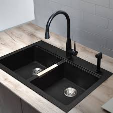 black kitchen sinks and faucets. Shop Kraus Kitchen Sink 22-in X 33-in Black Onyx Double-Basin Granite Drop-In Or Undermount 1-Hole Residential All-In-One Kit At Lowes.com Sinks And Faucets Pinterest