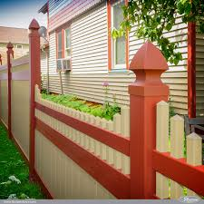 Perfect Vinyl Privacy Fence Ideas Amazing Tan And Barn Red On Design