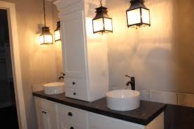 vanity lighting design. Artistic Modern Bathroom Lighting From Classical Pendant Lamp Combined With Two Bright White Tube Sink Black Single Handle Faucet On Vanity Design