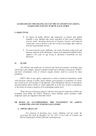 Networth Form Guidelines In The Filling Out Of The Statement Of Assets Liabilities