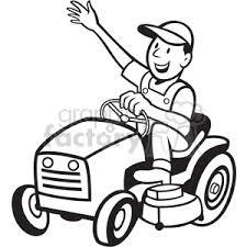 lawn mower logo black and white. black and white farmer riding tractor mower lawn logo g