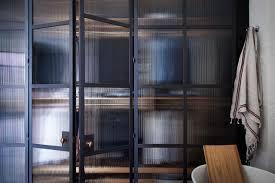 interior school doors. Bespoke Rolled Steel Glazed Doors. Bathroom Screens With Reeded Fluted Glass In The Old School House. Room Divider. Interior Doors E