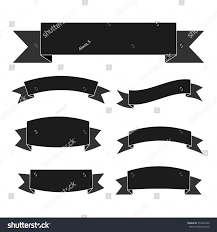 Ribbon Banner Template Black And White Black Ribbon Banners Set Vintage Decoration Stock Vector
