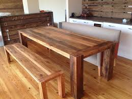 long wood dining table:  diy natural painted reclaimed wood dining table with bench diy long reclaimed wood dining table