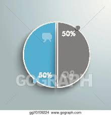 50 Percent Pie Chart Vector Art Colored Piechart 50 Percent Clipart Drawing