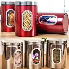 sugar jar set quality stainless steel window canister tea coffee sugar nuts jar storage set glass