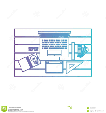 office drawing tools. Laptop Computer And Drawing Tools Over Desk On Top View In Degraded Purple To Blue Contour Stock Vector - Illustration Of Background, Draw: 109103281 Office I