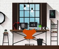 creative furniture icons set flat design. Download Vector Flat Illustration Workplace In Loft Interior. Desk Concept. Modern Design Of Creative Furniture Icons Set