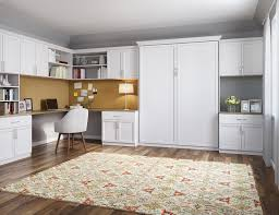 Murphy bed office Queen Office Space With White Shelving Cabinets Built In Desk And Murphy Bed With Deep Yellow Accents Closets For Life Murphy Beds Wall Bed Designs And Ideas By California Closets