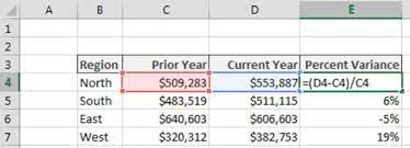 calculating percent variance in excel