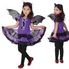 Lovely Purple Batgirl Cosplay Costume Girls Vampire Dress For Children Halloween  Party Clothing For Girls New Years Christmas Bat Dress