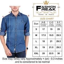 Amazon Shirt Size Chart India Fashion Freak Denim Shirt For Men Jean Shirt Ds003