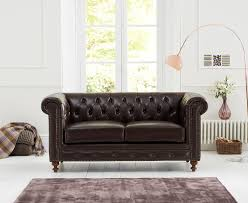 montrose 2 seater brown leather sofa