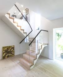 ... Prefab Stairs Outdoor Timber Stairs Floating Stair With Light Wood  Tread Glas Railing And ...