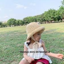 Mũ cói cho bé - Mũ cói Ajuma đi biển cho bé trai bé gái có dây buộc ren dễ  thương, xinh xắn kiểu dáng Hàn Quốc MC02 giá cạnh tranh