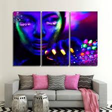 Poster Art <b>Print</b> Wall <b>3 Pieces</b>/Pcs Purple Phosphor Face Picture ...