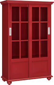 ameriwood home aaron lane bookcase with sliding glass doors red com