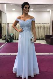2019 <b>elegant</b> off the shoulder <b>light sky blue</b> long prom dress ...