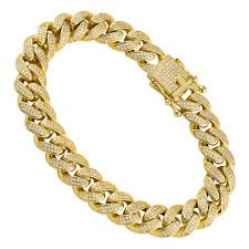 18k yellow gold plated silver mens lab created stones cuban link bracelet 9 inches 12 mm
