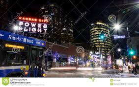 Kansas City Power And Light District Restaurants Night Scene At The Power And Light District In Kansas City