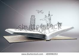 open book with abstract drawing of landmarks and sights on grey background traveling concept