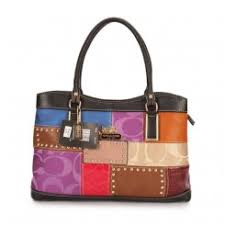 Coach Holiday Fashion Stud Medium Black Multi Satchels Outlet Clearance