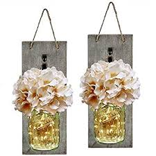 mason jar sconce with led fairy lights