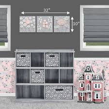 size guide for nursery art gray and pink flowers set of three