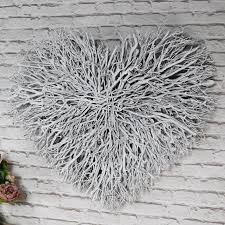 large white twig heart wall art