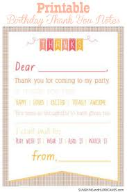 Printable Birthday Thank You Notes Manners Children S And Note
