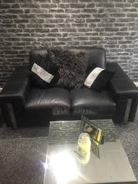two and three seater black italian leather sofa