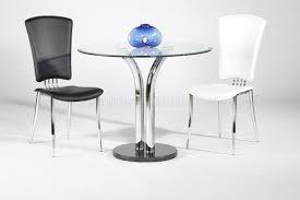 Round Table Tracy T 311 Glass Top Dining Table 2 Chairs 3pc Set By Chintaly
