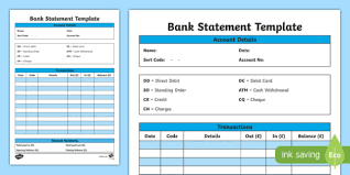 Bank Statement Template Cfe Everyday Maths Real Life
