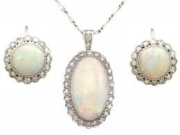 8 18ct opal and 0 98ct diamond 9ct white gold and platinum earring and pendant set antique circa 1920 c 1920 arezzo italy from ac silver the uk s