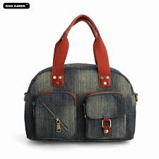 KISS KAREN Classic Retro Fashion Denim <b>Designer</b> Totes <b>Women</b> ...