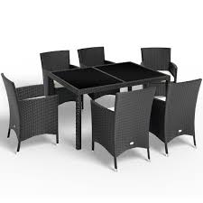 aluminium poly rattan garden dining table chairs set 6 seater stackable chairs