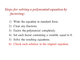 11 steps for solving a polynomial equation