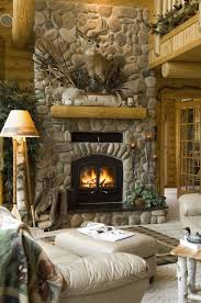 log cabin fireplace designs