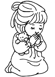 Little Girl Praying Coloring Page Little