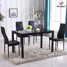 5 piece dining table set 4 chairs gl metal kitchen room breakfast furniture