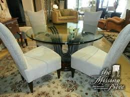 54 round tables glass top dining table on wood and metal pedestal with six inch tablecloth