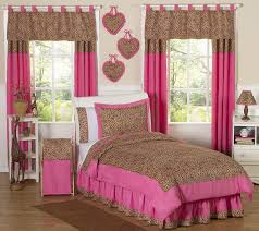 pink cheetah animal print kids twin size bedding comforter set for girl bedroom
