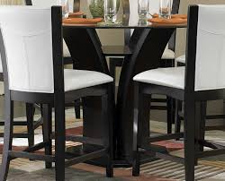 black dining room set round. Round Glass Top Dining Table Mixed Synthetic White Leather Chairs, Endearing Black And Room Set N
