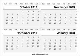 October 2019 January 2020 Calendar Free 2019 Calendar