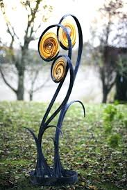 glass yard art metal garden art flowers forged steel and blown glass garden or yard outside glass yard art